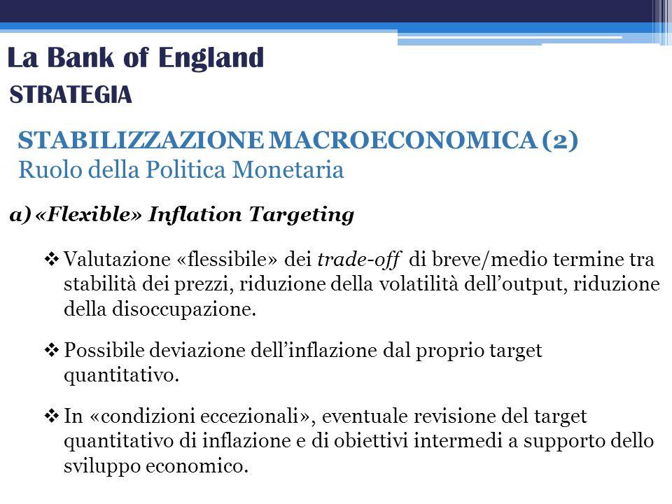 La Bank of England STABILIZZAZIONE MACROECONOMICA (2) Ruolo della Politica Monetaria STRATEGIA a)«Flexible» Inflation Targeting Valutazione «flessibil