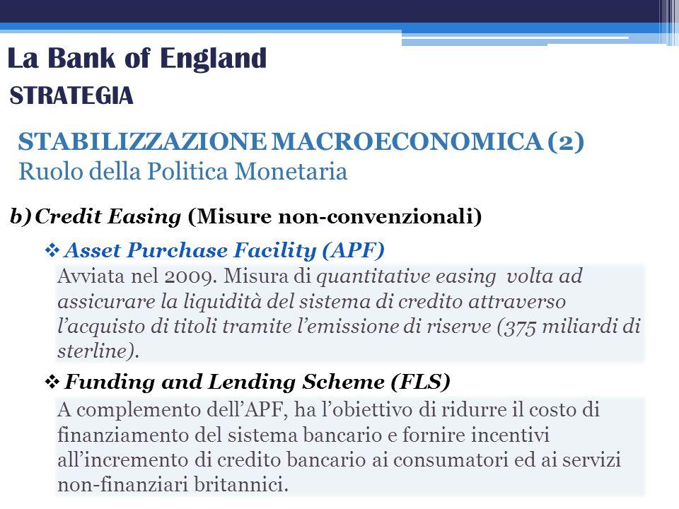 La Bank of England STABILIZZAZIONE MACROECONOMICA (2) Ruolo della Politica Monetaria STRATEGIA b)Credit Easing (Misure non-convenzionali) Asset Purcha
