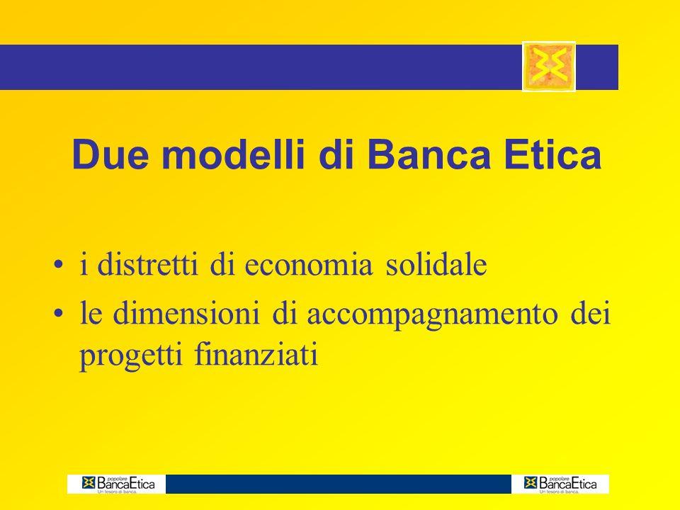 Due modelli di Banca Etica i distretti di economia solidale le dimensioni di accompagnamento dei progetti finanziati