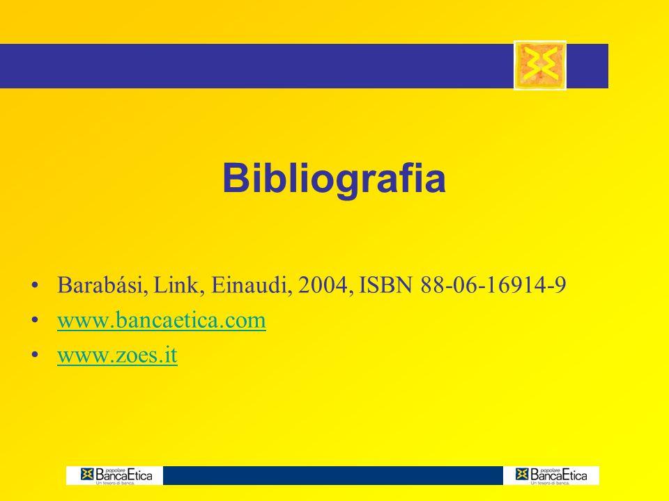 Bibliografia Barabási, Link, Einaudi, 2004, ISBN 88-06-16914-9 www.bancaetica.com www.zoes.it