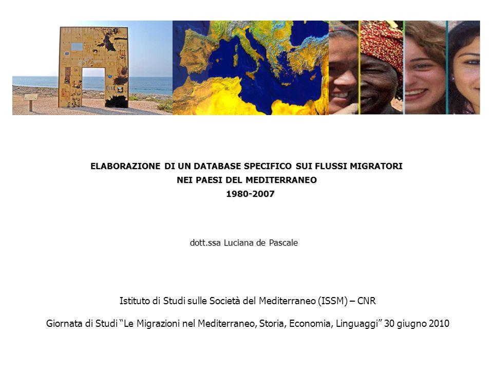 ELABORAZIONE DI UN DATABASE SPECIFICO SUI FLUSSI MIGRATORI NEI PAESI DEL MEDITERRANEO 1980-2007 1980-2007 dott.ssa Luciana de Pascale Istituto di Stud