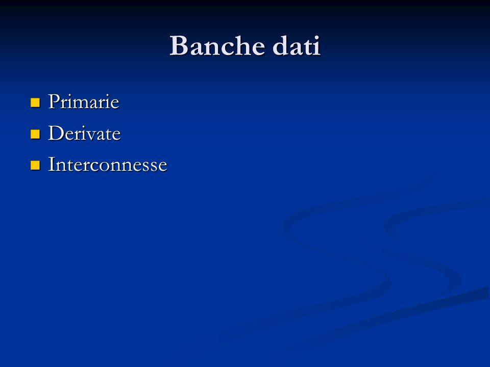 Banche dati Primarie Primarie Derivate Derivate Interconnesse Interconnesse