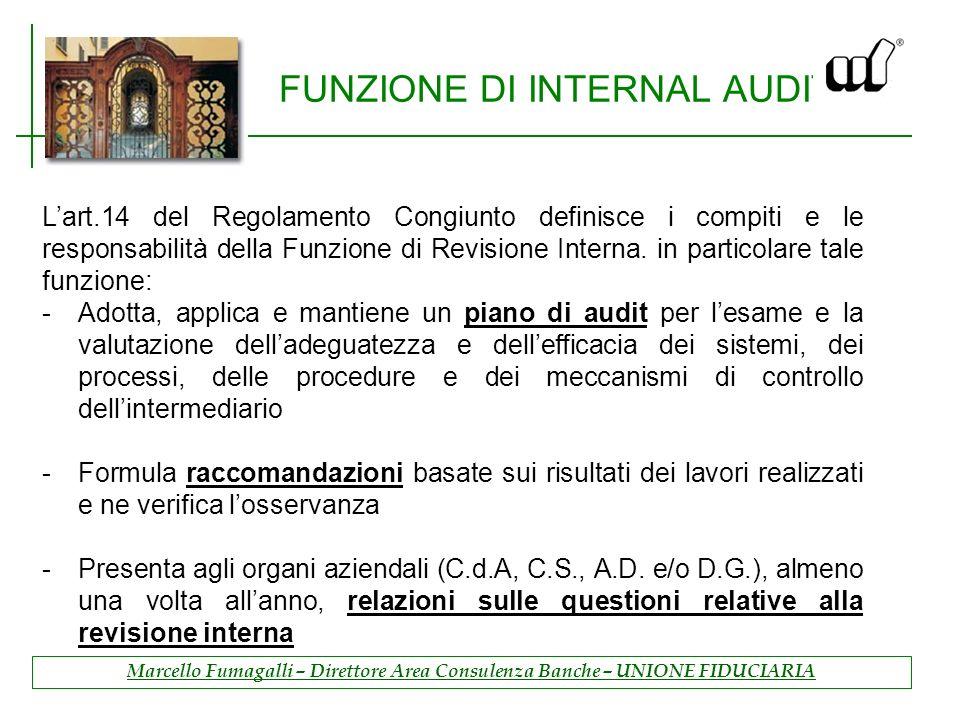 FUNZIONE DI INTERNAL AUDIT Lart.14 del Regolamento Congiunto definisce i compiti e le responsabilità della Funzione di Revisione Interna.