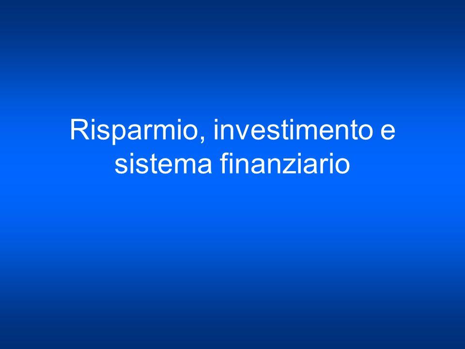 Risparmio, investimento e sistema finanziario