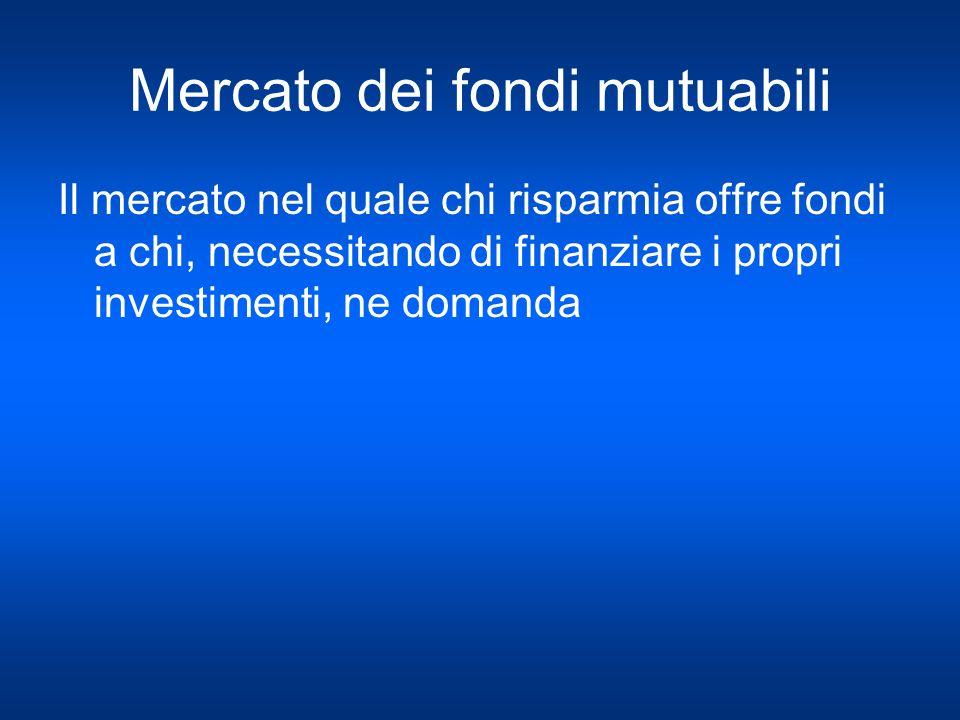 Mercato dei fondi mutuabili Il mercato nel quale chi risparmia offre fondi a chi, necessitando di finanziare i propri investimenti, ne domanda