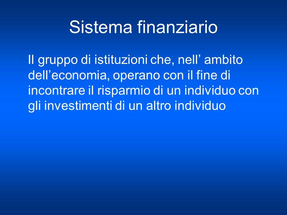 Sistema finanziario Il gruppo di istituzioni che, nell ambito delleconomia, operano con il fine di incontrare il risparmio di un individuo con gli inv