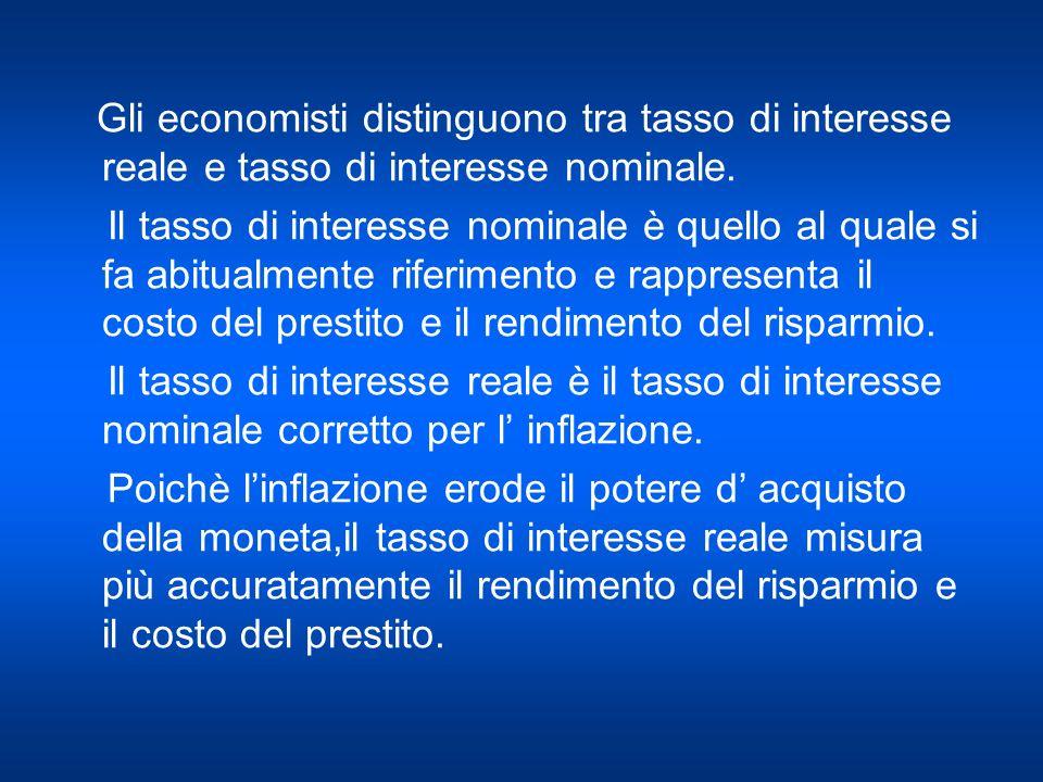 Gli economisti distinguono tra tasso di interesse reale e tasso di interesse nominale. Il tasso di interesse nominale è quello al quale si fa abitualm