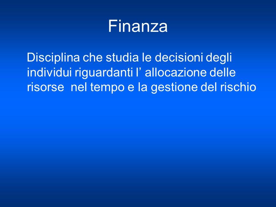 Finanza Disciplina che studia le decisioni degli individui riguardanti l allocazione delle risorse nel tempo e la gestione del rischio