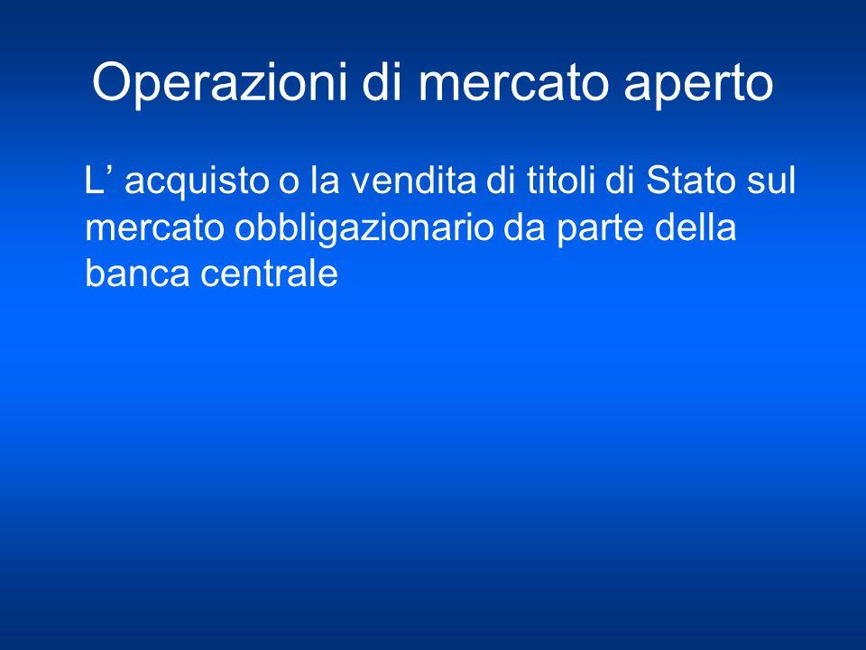 Operazioni di mercato aperto L acquisto o la vendita di titoli di Stato sul mercato obbligazionario da parte della banca centrale
