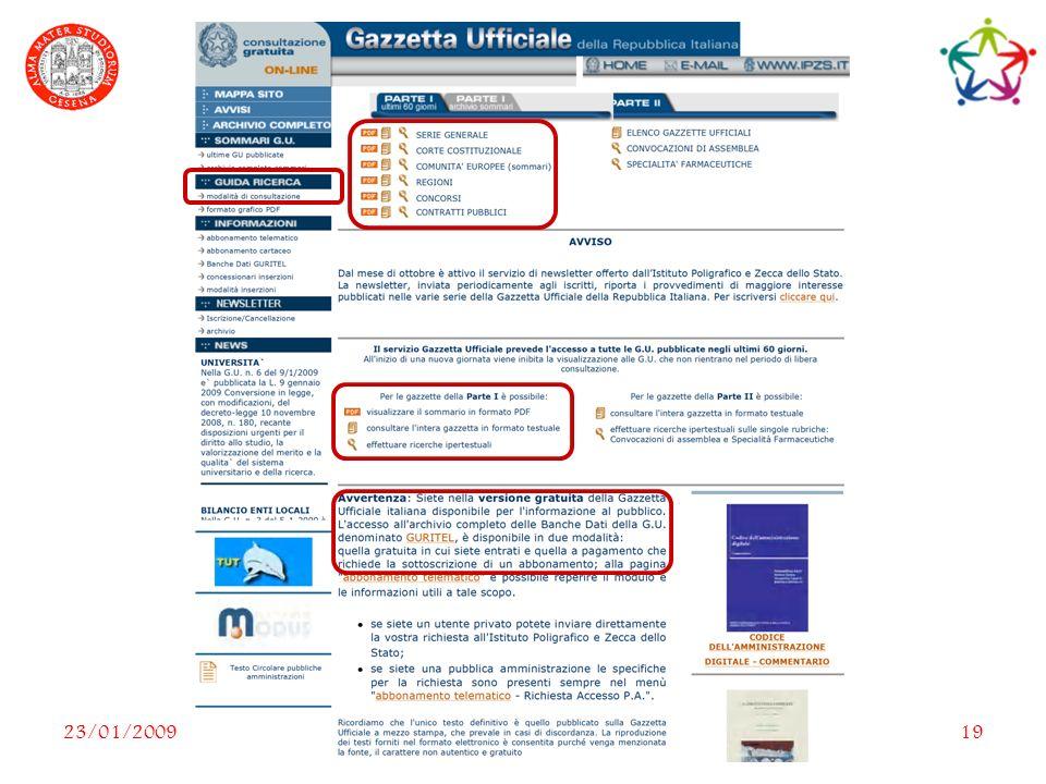 23/01/2009Le Banche dati dAteneo19