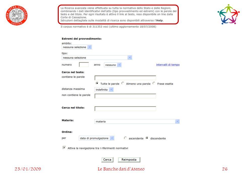 23/01/2009Le Banche dati dAteneo26