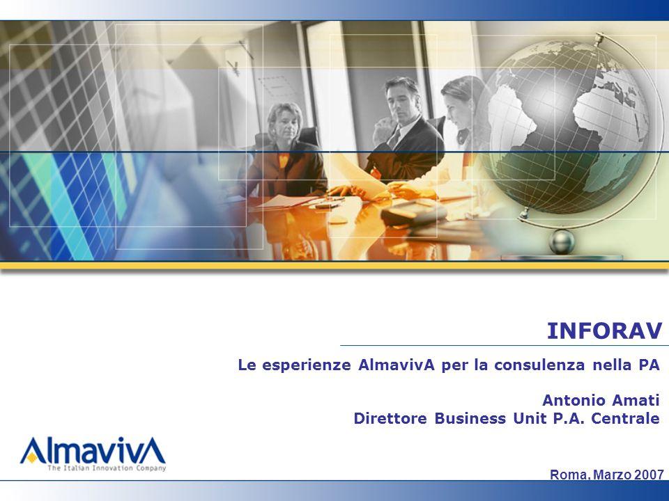 A.Amati: il ruolo della consulenza nella PA – esperienze AlmavivA 2 Company Overview La consulenza nella P.A.