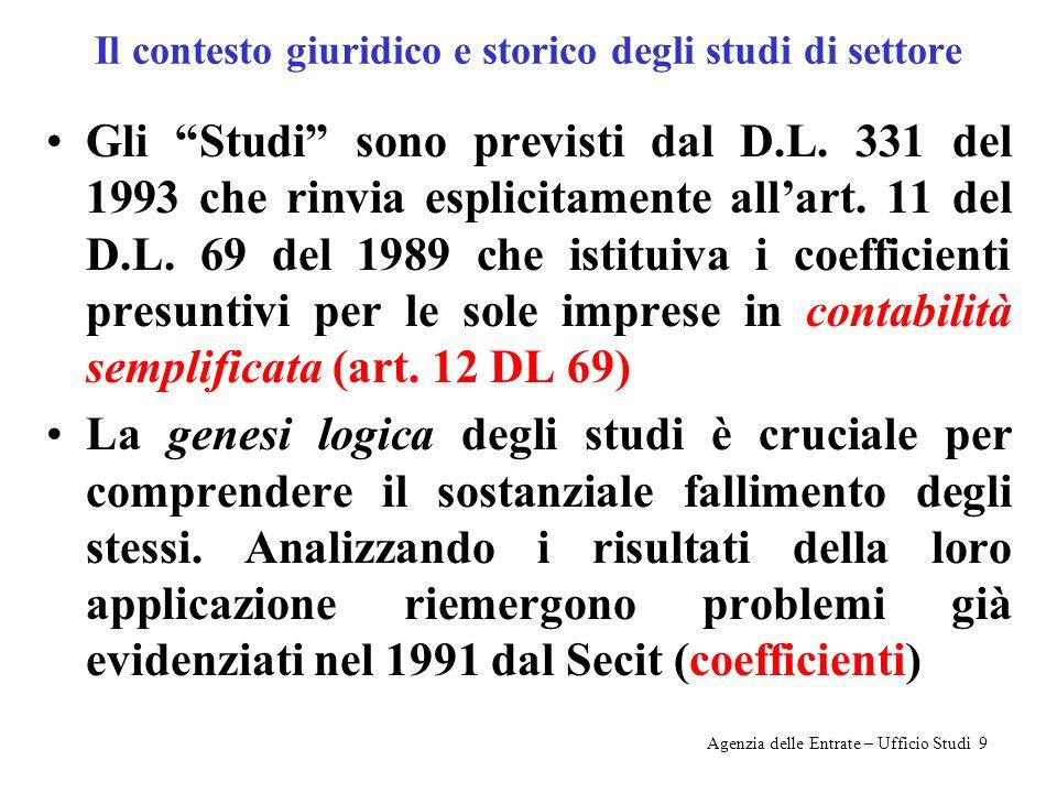 Il contesto giuridico e storico degli studi di settore Gli Studi sono previsti dal D.L.