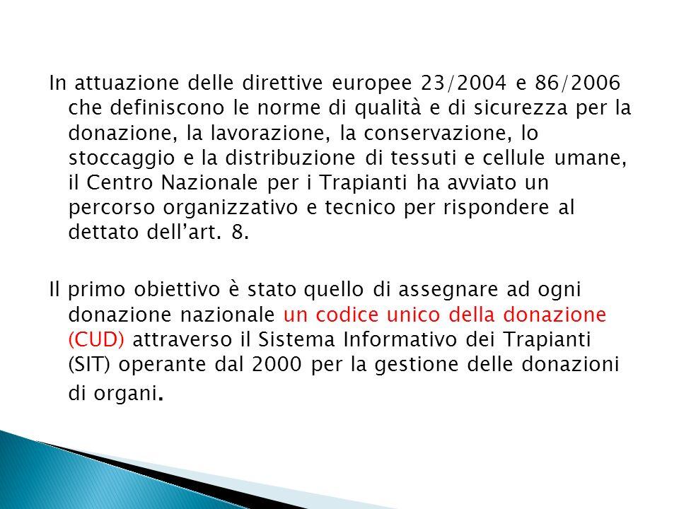 In attuazione delle direttive europee 23/2004 e 86/2006 che definiscono le norme di qualità e di sicurezza per la donazione, la lavorazione, la conservazione, lo stoccaggio e la distribuzione di tessuti e cellule umane, il Centro Nazionale per i Trapianti ha avviato un percorso organizzativo e tecnico per rispondere al dettato dellart.