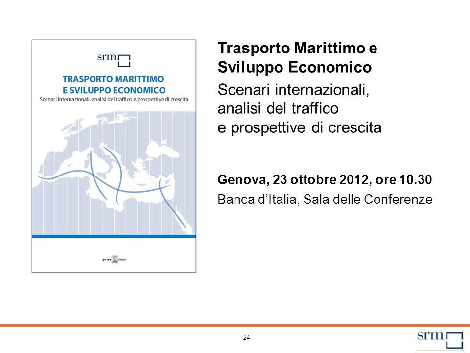 24 Trasporto Marittimo e Sviluppo Economico Scenari internazionali, analisi del traffico e prospettive di crescita Genova, 23 ottobre 2012, ore 10.30
