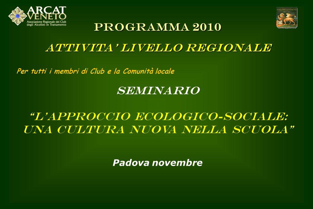 Per tutti i membri di Club e la Comunità locale SEMINARIO Lapproccio ecologico-sociale: una cultura nuova nella scuola Padova novembre PROGRAMMA 2010