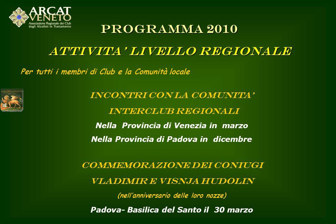 Per tutti i membri di Club e la Comunità locale INCONTRI CON LA COMUNITA INTERCLUB REGIONALI Nella Provincia di Venezia in marzo Nella Provincia di Pa