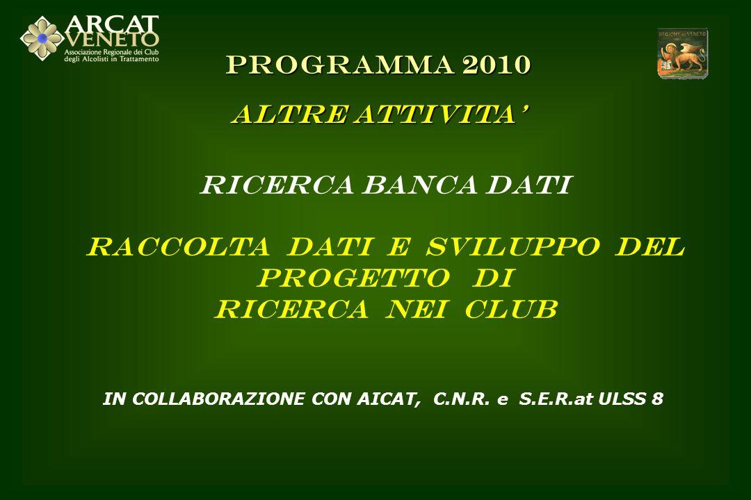 RICERCA BANCA DATI RACCOLTA DATI E SVILUPPO DEL PROGETTO DI RICERCA NEI CLUB IN COLLABORAZIONE CON AICAT, C.N.R. e S.E.R.at ULSS 8 PROGRAMMA 2010 ALTR
