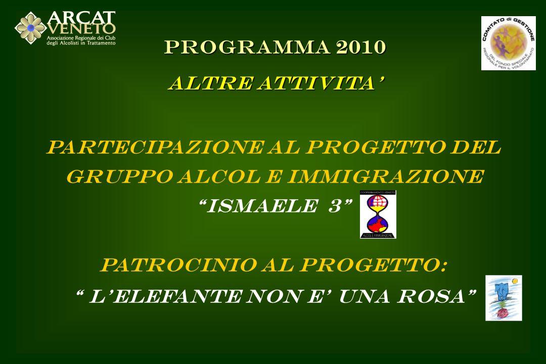 PARTECIPAZIONE AL PROGETTO DEL GRUPPO ALCOL E IMMIGRAZIONE ISMAELE 3 PATROCINIO AL PROGETTO: LELEFANTE NON E UNA ROSA PROGRAMMA 2010 ALTRE ATTIVITA