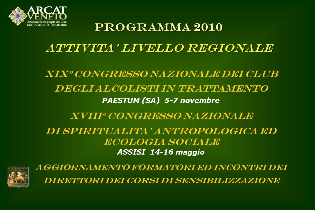 XIX° CONGRESSO NAZIONALE DEI CLUB DEGLI ALCOLISTI IN TRATTAMENTO PAESTUM (SA) 5-7 novembre XVIII° CONGRESSO NAZIONALE DI SPIRITUALITA ANTROPOLOGICA ED