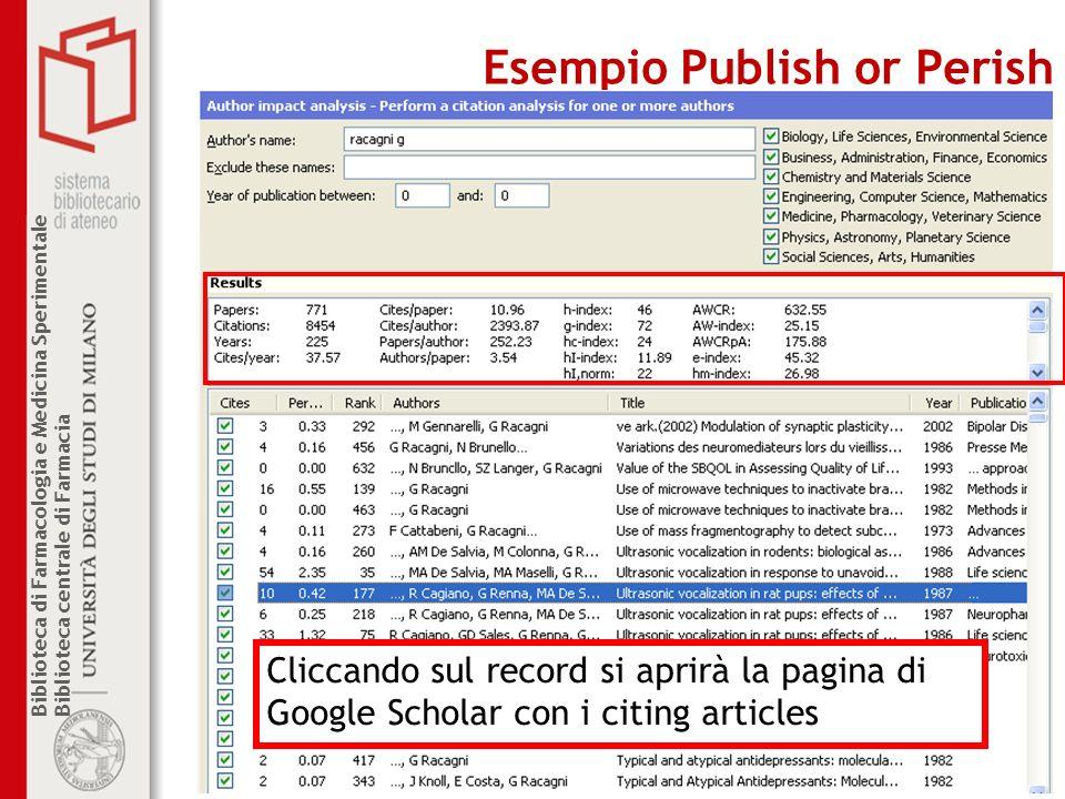 Biblioteca di Farmacologia e Medicina Sperimentale Biblioteca centrale di Farmacia Esempio Publish or Perish Cliccando sul record si aprirà la pagina