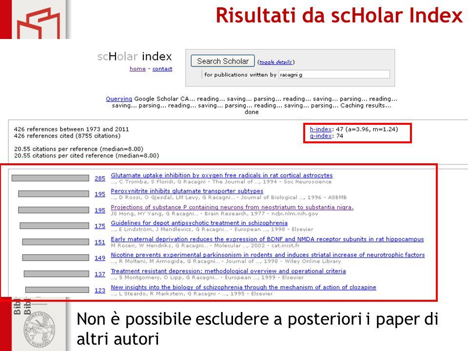 Biblioteca di Farmacologia e Medicina Sperimentale Biblioteca centrale di Farmacia Risultati da scHolar Index Non è possibile escludere a posteriori i