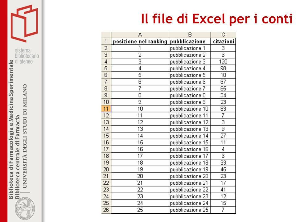 Biblioteca di Farmacologia e Medicina Sperimentale Biblioteca centrale di Farmacia Il file di Excel per i conti