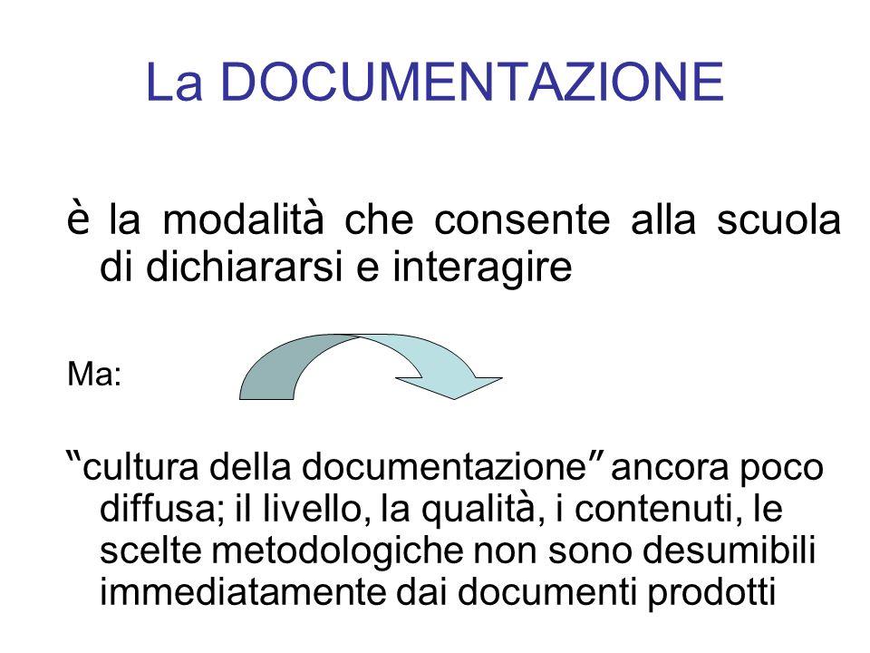 La DOCUMENTAZIONE è la modalit à che consente alla scuola di dichiararsi e interagire Ma: cultura della documentazione ancora poco diffusa; il livello, la qualit à, i contenuti, le scelte metodologiche non sono desumibili immediatamente dai documenti prodotti