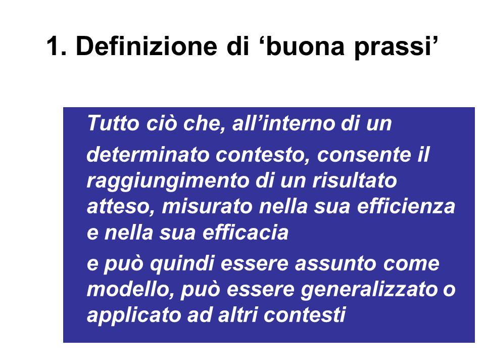 1. Definizione di buona prassi Tutto ciò che, allinterno di un determinato contesto, consente il raggiungimento di un risultato atteso, misurato nella