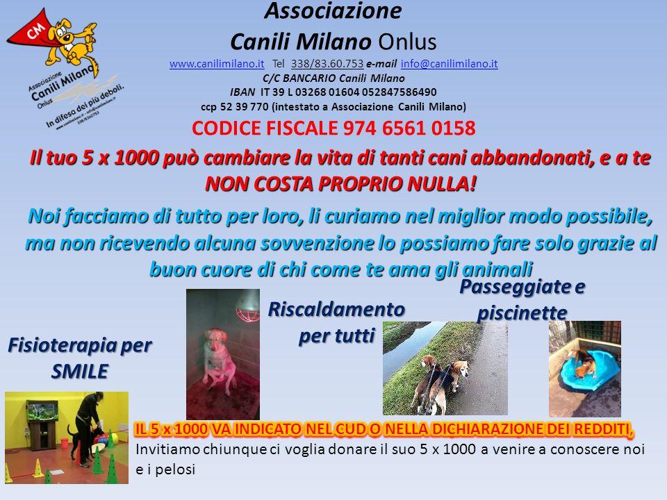 Associazione Canili Milano Onlus www.canilimilano.it Tel 338/83.60.753 e-mail info@canilimilano.it C/C BANCARIO Canili Milano IBAN IT 39 L 03268 01604