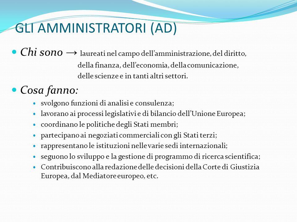 GLI AMMINISTRATORI (AD) Chi sono laureati nel campo dellamministrazione, del diritto, della finanza, delleconomia, della comunicazione, delle scienze