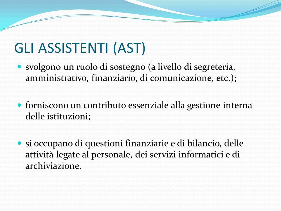 GLI ASSISTENTI (AST) svolgono un ruolo di sostegno (a livello di segreteria, amministrativo, finanziario, di comunicazione, etc.); forniscono un contr