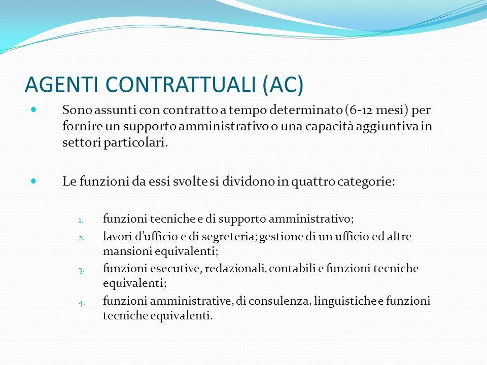 AGENTI CONTRATTUALI (AC) Sono assunti con contratto a tempo determinato (6-12 mesi) per fornire un supporto amministrativo o una capacità aggiuntiva i
