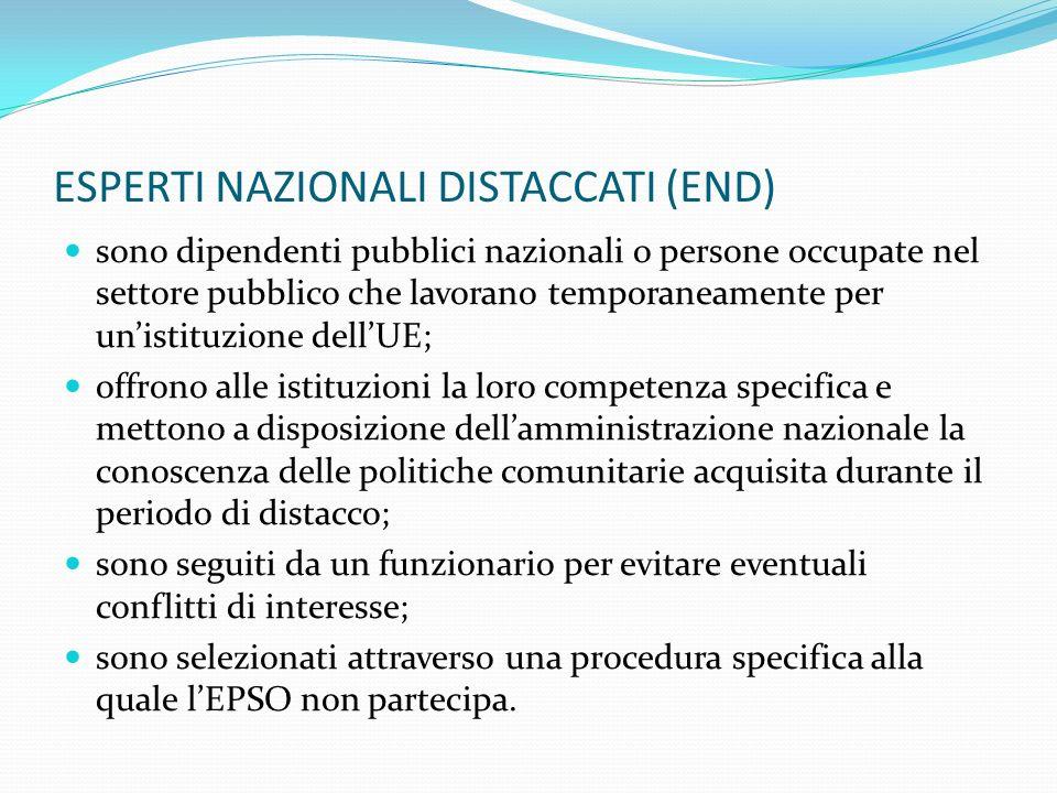 ESPERTI NAZIONALI DISTACCATI (END) sono dipendenti pubblici nazionali o persone occupate nel settore pubblico che lavorano temporaneamente per unistit