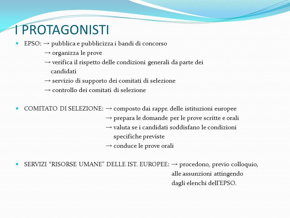 I PROTAGONISTI EPSO: pubblica e pubblicizza i bandi di concorso organizza le prove verifica il rispetto delle condizioni generali da parte dei candida