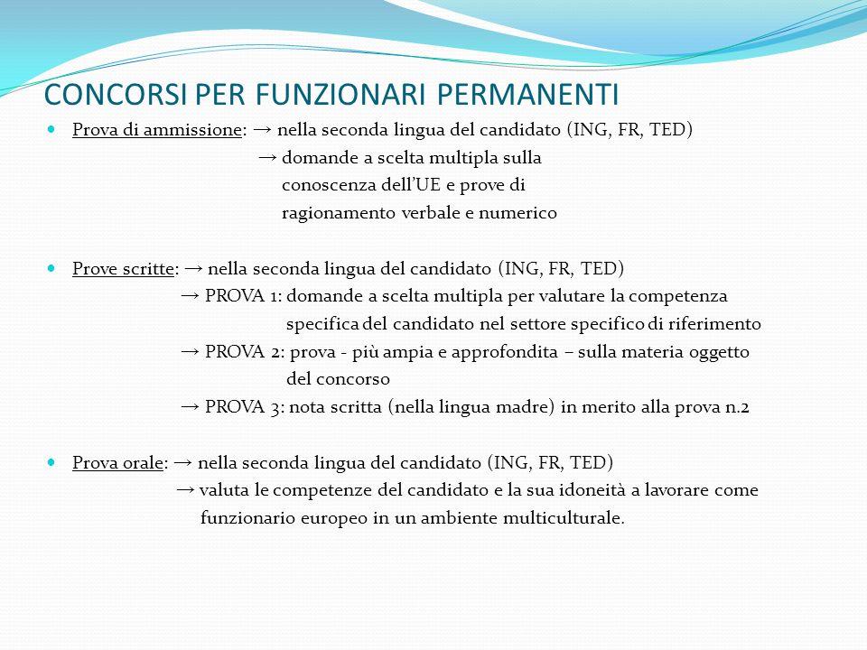 CONCORSI PER FUNZIONARI PERMANENTI Prova di ammissione: nella seconda lingua del candidato (ING, FR, TED) domande a scelta multipla sulla conoscenza d