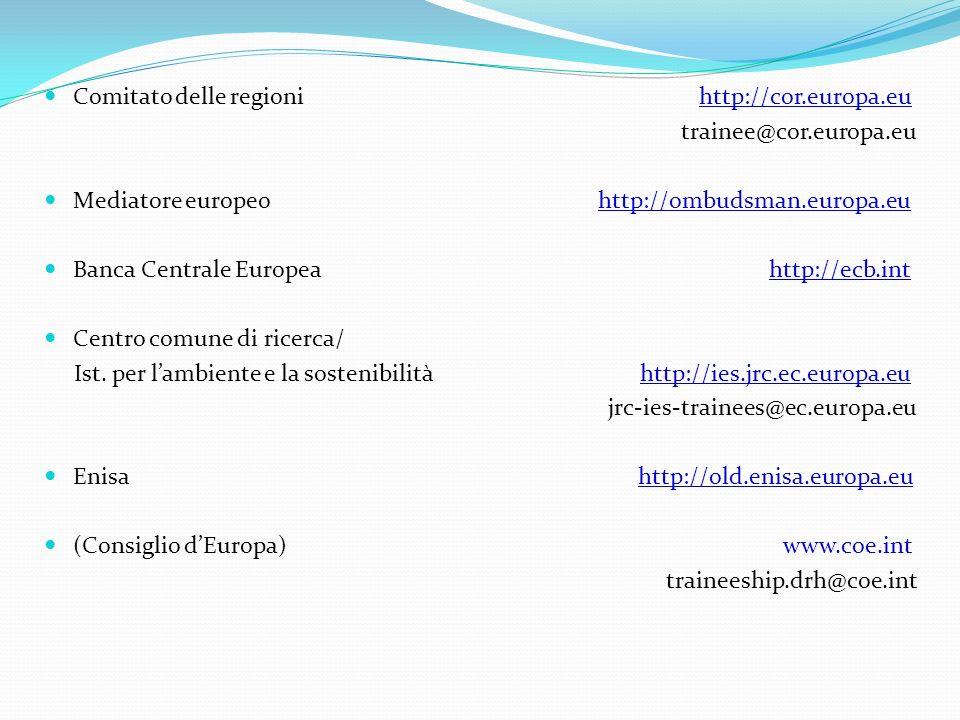 Comitato delle regioni http://cor.europa.eu trainee@cor.europa.eu Mediatore europeo http://ombudsman.europa.eu Banca Centrale Europea http://ecb.int C