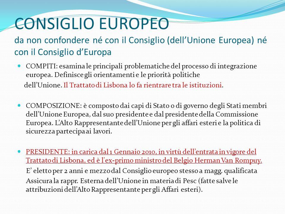 CONSIGLIO EUROPEO da non confondere né con il Consiglio (dellUnione Europea) né con il Consiglio dEuropa COMPITI: esamina le principali problematiche