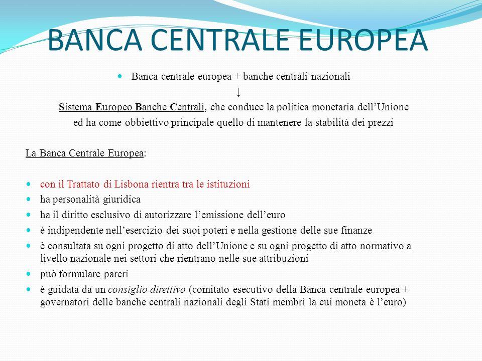 BANCA CENTRALE EUROPEA Banca centrale europea + banche centrali nazionali Sistema Europeo Banche Centrali, che conduce la politica monetaria dellUnion