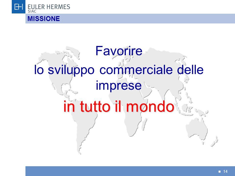 14 MISSIONE Favorire lo sviluppo commerciale delle imprese in tutto il mondo