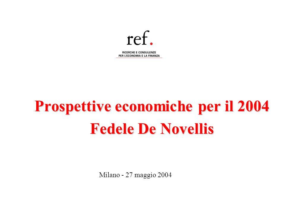 Prospettive economiche per il 2004 Fedele De Novellis Milano - 27 maggio 2004