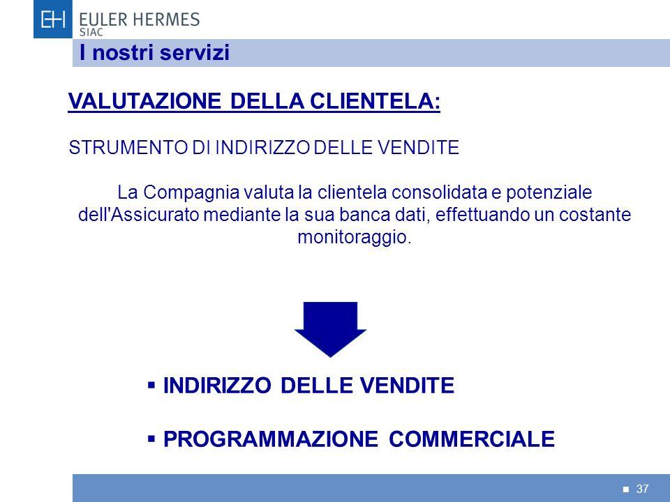 37 I nostri servizi VALUTAZIONE DELLA CLIENTELA: STRUMENTO DI INDIRIZZO DELLE VENDITE La Compagnia valuta la clientela consolidata e potenziale dell'A