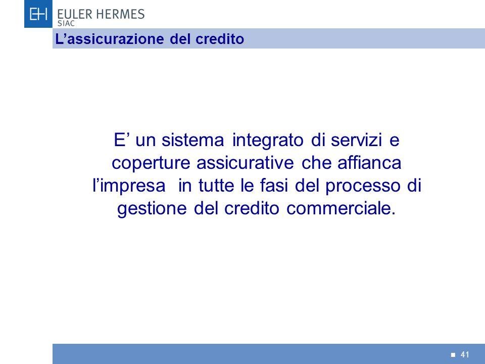 41 E un sistema integrato di servizi e coperture assicurative che affianca limpresa in tutte le fasi del processo di gestione del credito commerciale.
