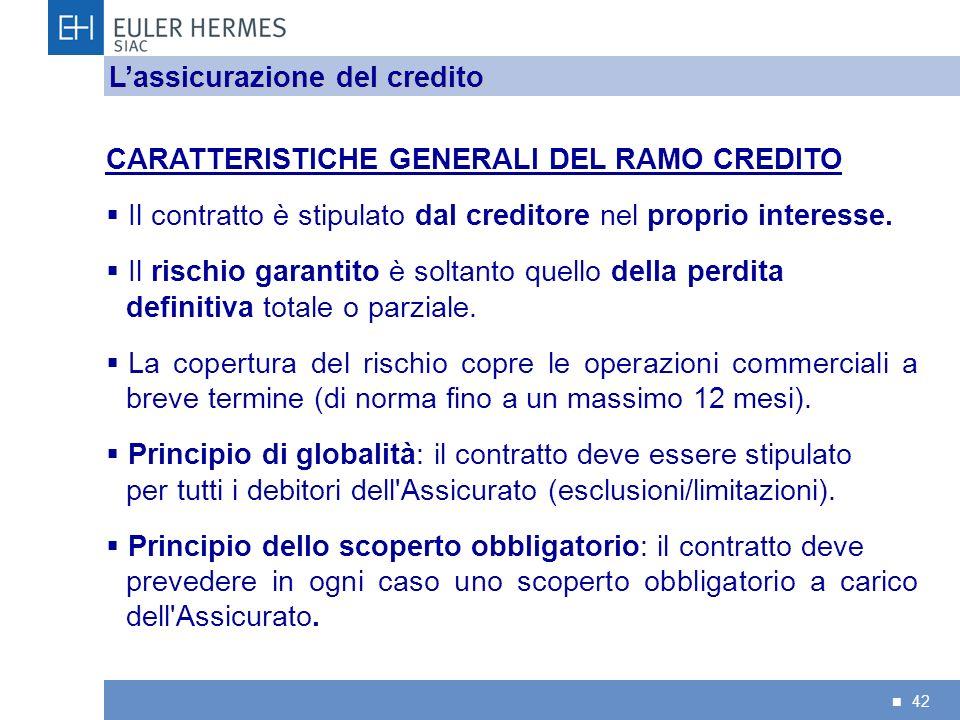 42 CARATTERISTICHE GENERALI DEL RAMO CREDITO Il contratto è stipulato dal creditore nel proprio interesse. Il rischio garantito è soltanto quello dell