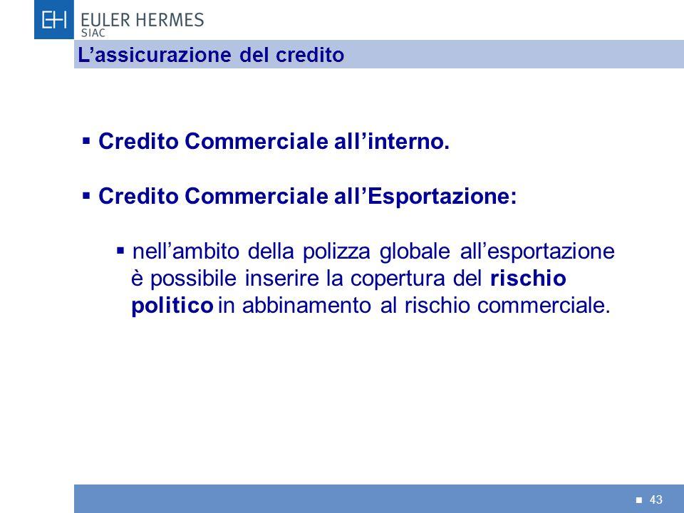 43 Credito Commerciale allinterno. Credito Commerciale allEsportazione: nellambito della polizza globale allesportazione è possibile inserire la coper