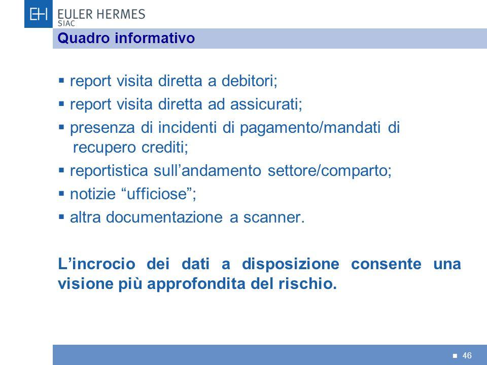 46 report visita diretta a debitori; report visita diretta ad assicurati; presenza di incidenti di pagamento/mandati di recupero crediti; reportistica