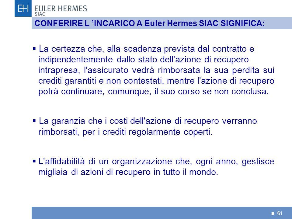 61 CONFERIRE L INCARICO A Euler Hermes SIAC SIGNIFICA: La certezza che, alla scadenza prevista dal contratto e indipendentemente dallo stato dell'azio