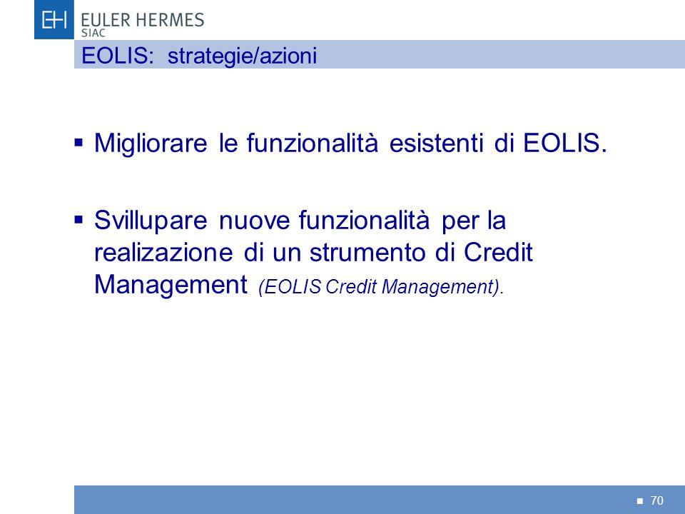 70 Migliorare le funzionalità esistenti di EOLIS. Svillupare nuove funzionalità per la realizazione di un strumento di Credit Management (EOLIS Credit