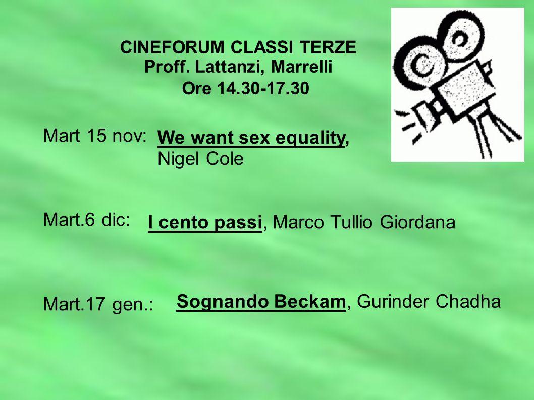 CINEFORUM CLASSI TERZE Proff.