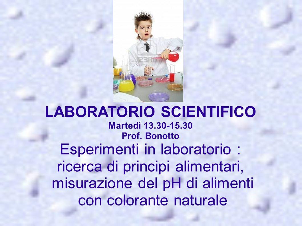 l LABORATORIO SCIENTIFICO Martedì 13.30-15.30 Prof. Bonotto Esperimenti in laboratorio : ricerca di principi alimentari, misurazione del pH di aliment
